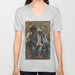 African American Masterpiece 'A Portrait of Two Brothers' by Malvin Gray Johnson Unisex V-Neck