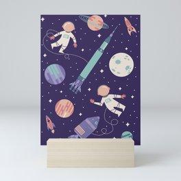 Lunar Spacewalk - Purple + Coral Mini Art Print
