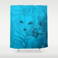 frozen elsa Shower Curtains featuring Frozen Elsa by ALynnArts