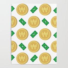 Korean won pattern background Poster