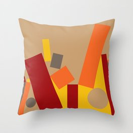 Soft Brown Leaning Shapes Geometric Abstract Throw Pillow