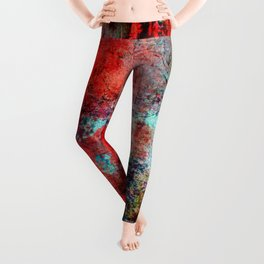 Modern Contemporary Red Abstract IntoDarkness Design Leggings
