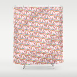 ENFP Trendy Rainbow Text Pattern (Pink) Shower Curtain