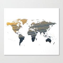 World Map - Sea Texture Canvas Print