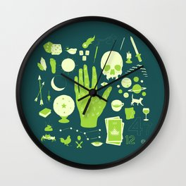 Methods of Divination - Green Wall Clock