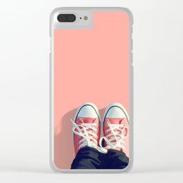 Pink sneakers on a peach-pink colored background. Ready for a walk? Clear iPhone Case