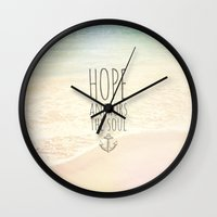 pocketfuel Wall Clocks featuring HOPE ANCHORS THE SOUL  by Pocket Fuel