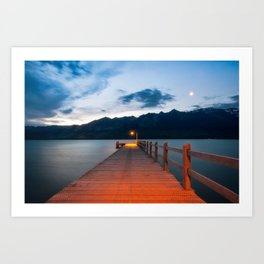 Moon rising at Glenorchy wharf, NZ Art Print