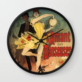 L Amant Des Danseuses Roman Moderniste Par F Licien Champsaur 1888 By Jules Cheret | Reproduction Ar Wall Clock