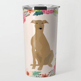 greyhound dog floral wreath dog gifts pet portraits Travel Mug