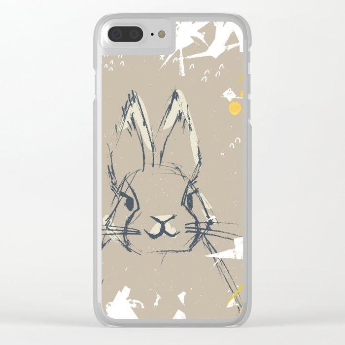 Bunny Portrait M+M Latte by Friztin Clear iPhone Case