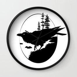 Raven Silhouette II Wall Clock
