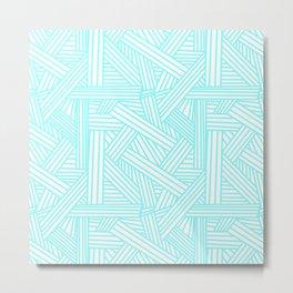 Sketchy Abstract (Aqua & White Pattern) Metal Print