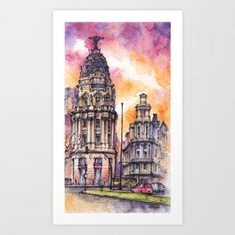 Madrid ink & watercolor illustration urban sketch Art Print