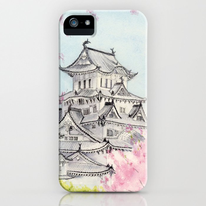 Himeji Castle , Art Watercolor Painting print by Suisai Genki , cherry blossom , Japanese Castle iPhone Case