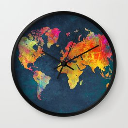 world map colors #map #maps #colors Wall Clock