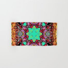 Aqua Red and Gold Star Mandala Magic Carpet Hand & Bath Towel