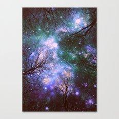 Black Trees Purple Green Space Canvas Print