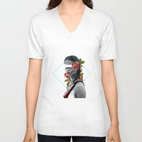 pain V-neck T-shirts featuring Pain by Cristina Guerrero