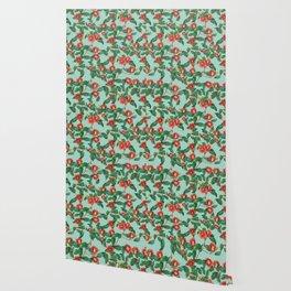 Watercolor red camellia Wallpaper