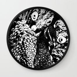 peacock black&white Wall Clock