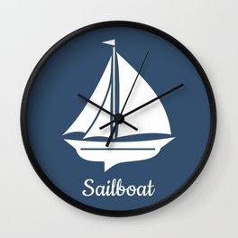 Navy Blue Nautical Sailboat Wall Clock