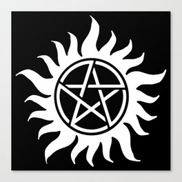 Anti Possession Sigil White Canvas Print