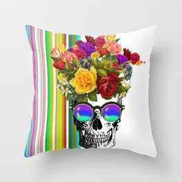 Colorful Cool Hip Skull with flowers Throw Pillow