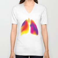 lungs V-neck T-shirts featuring Lungs by Kexit guys