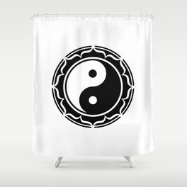 Yin Yang Lotus Flower Shower Curtain