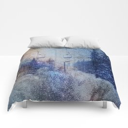 Chairlift into the Universe // Milky Way Galaxy Snowboarding Snow Nebula Stars Mixed Media Popart Comforters
