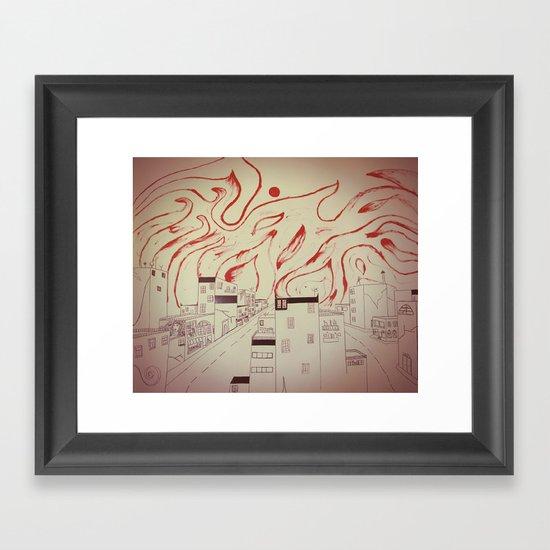 Burning city Framed Art Print