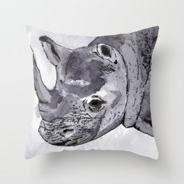 Rhino - Animal Series in Ink Throw Pillow