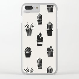 Southwestern Stamped Potted Cactus + Succulents Clear iPhone Case