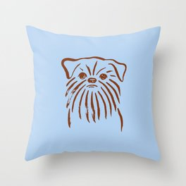 Brussels Griffon (Blue and Brown) Throw Pillow