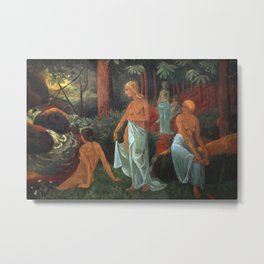 Women bathing with white veils by the Forest River by Paul Serusier Metal Print