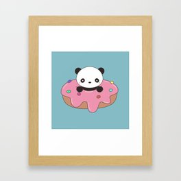 Kawaii Cute Panda Donut Framed Art Print