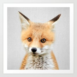 Baby Fox - Colorful Art Print