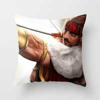 rogue Throw Pillows featuring Rogue by KlsteeleArt