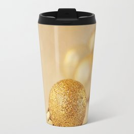 Gold glittery Christmas baubles. Travel Mug