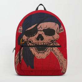 A Skull and Crossbones with a bandana and an eyepatch decorates a hot air balloon on the rise Backpack