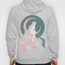 Crescent Moon, Cosmic, Bohemian Woman, Art Nouveau Clouds, Doves Hoody