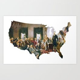 USA MAP The Signing of the Constitution of the United States Art Print