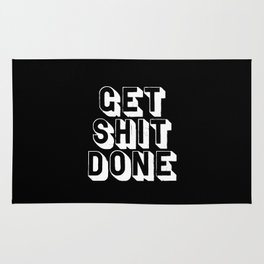 Get Shit Done black-white typographic poster design modern home decor canvas wall art bedroom Rug