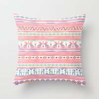 mexican Throw Pillows featuring Mexican Blanket by Sian Keegan