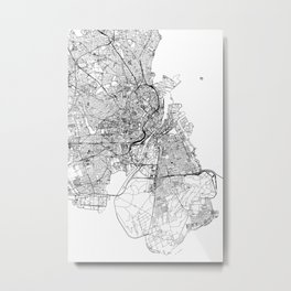 Copenhagen White Map Metal Print