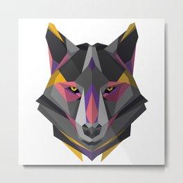 Triangular Geometric Wolf Head Metal Print