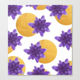 Reassurance // Violet Watercolor Flowers and Gold Spots Canvas Print