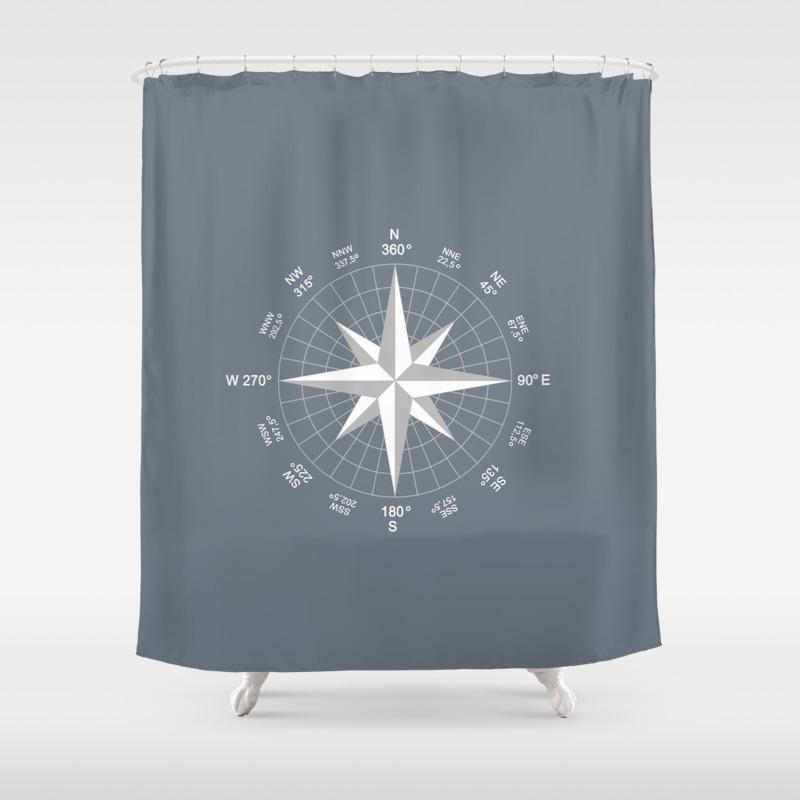 Slate Grey Color Shower Curtain
