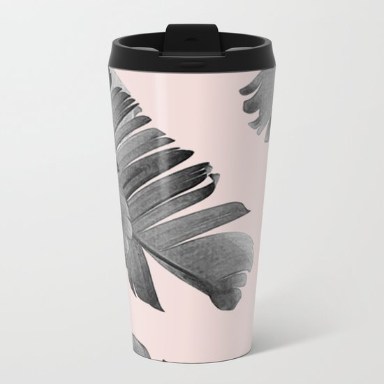 Black and pink palm leaves Metal Travel Mug